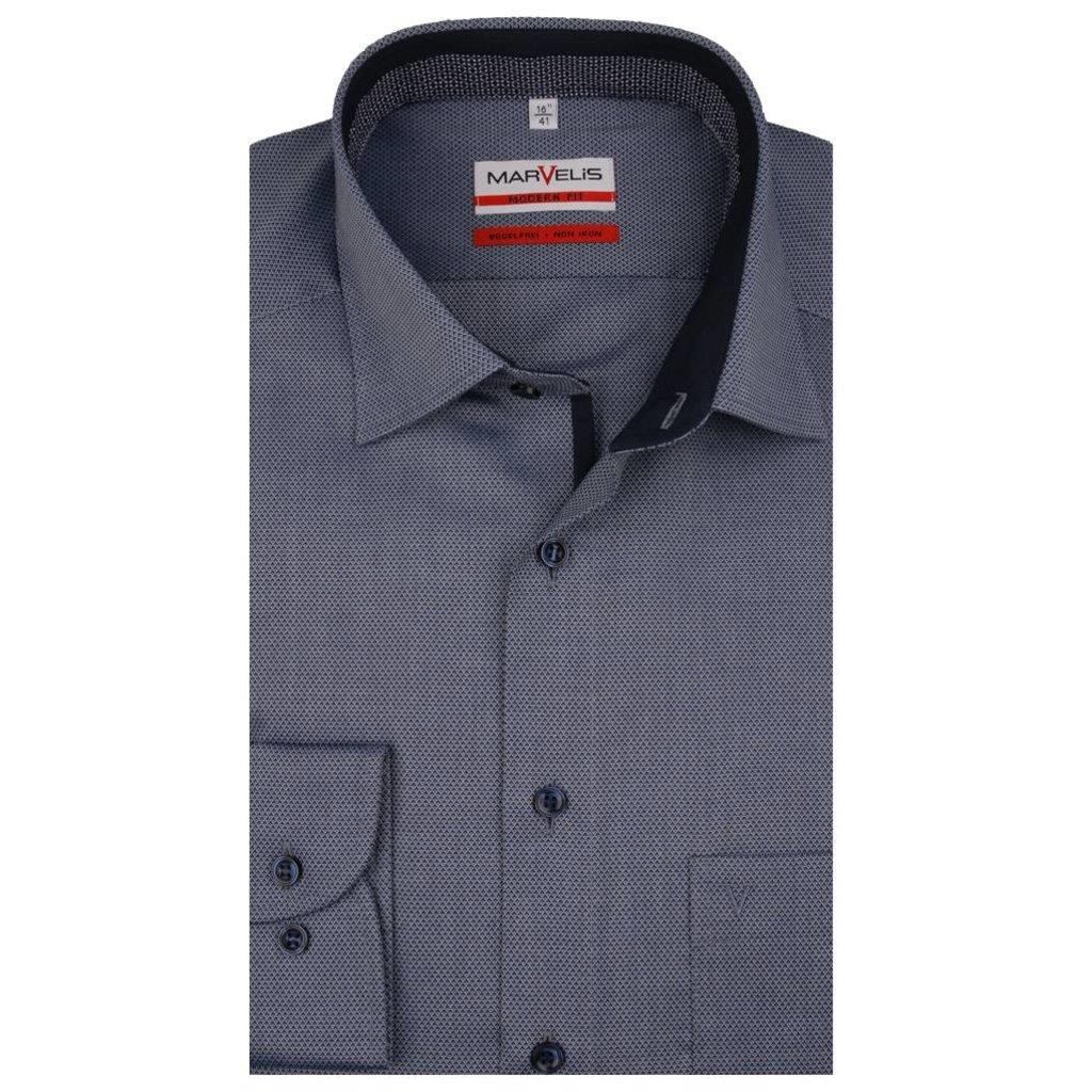 Overhemd Blauw.Marvelis Strijkvrij Overhemd Blauw Motief Modern Fit Q Fashion Q