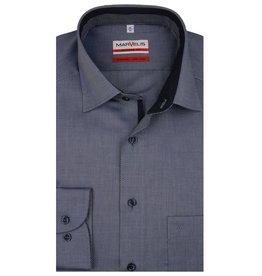 MarVelis MarVelis strijkvrij overhemd blauw motief en dubbel contrast Modern Fit, New Kent kraag