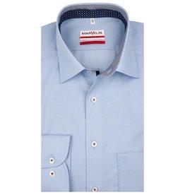MarVelis MarVelis strijkvrij overhemd lichtblauw motief en dubbel contrast Modern Fit, New Kent kraag