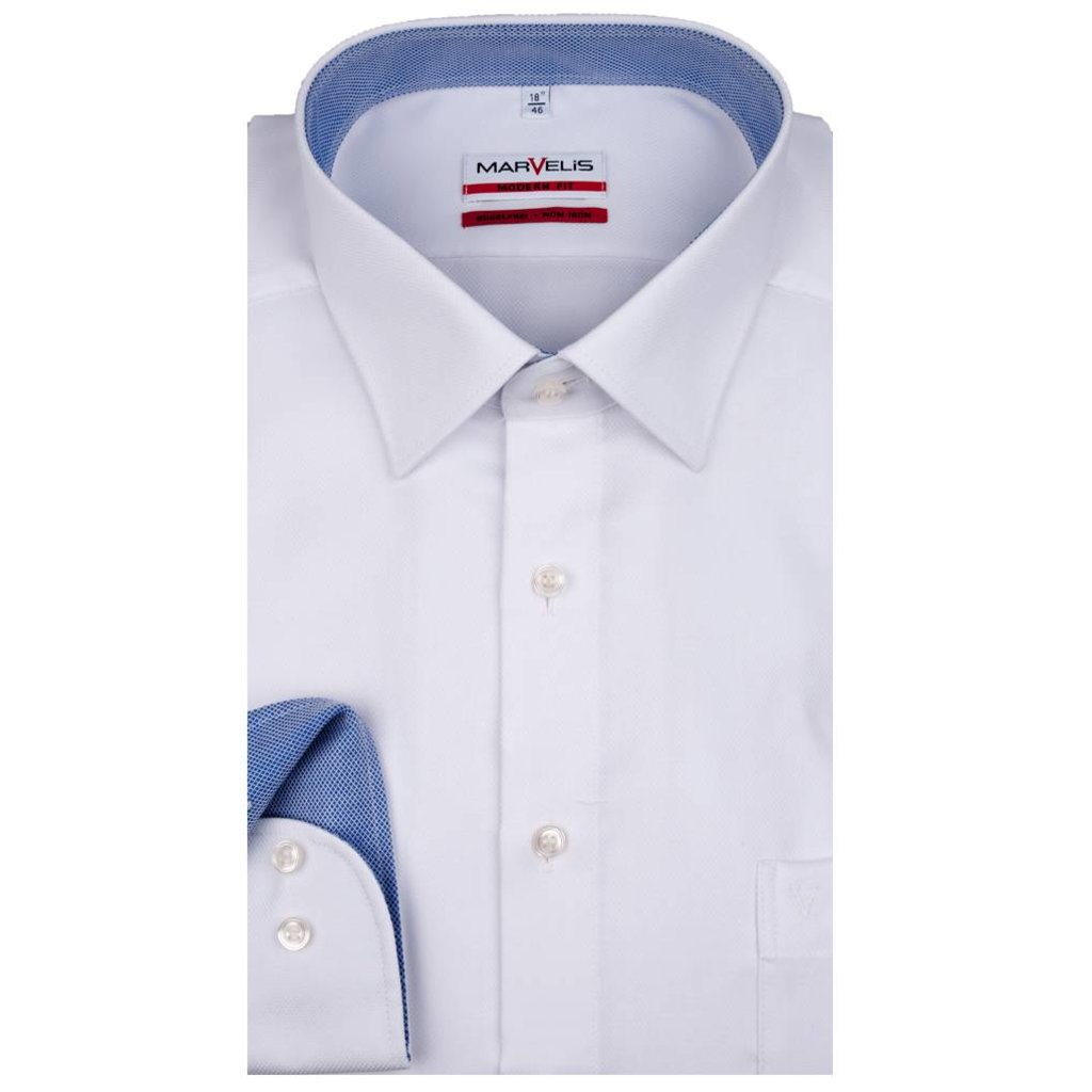 MarVelis MarVelis strijkvrij overhemd Modern Fit wit structuur, New Kent