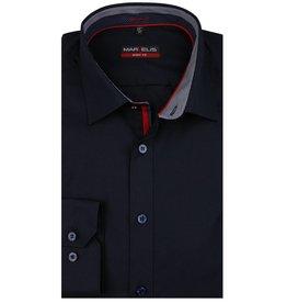 MarVelis MarVelis overhemd donkerblauw  dubbel contrast Body Fit, New York Kent kraag