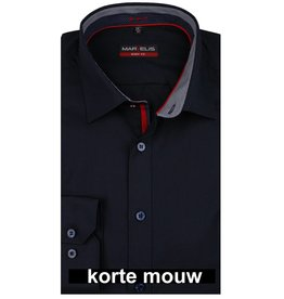 MarVelis MarVelis overhemd donkerblauw  dubbel contrast Body Fit, New York Kent kraag, korte mouw