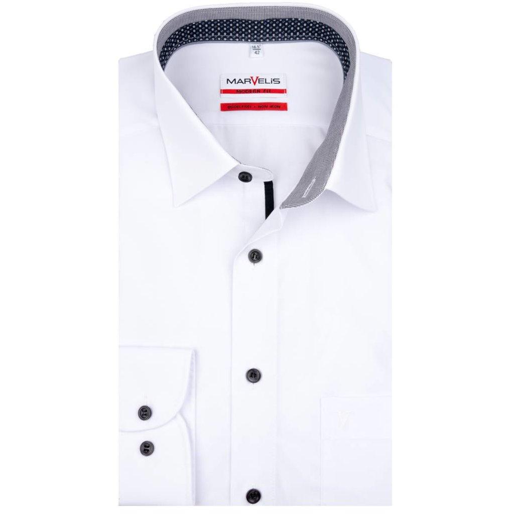 Overhemd Wit.Marvelis Strijkvrij Overhemd Wit Met Zwart Modern Fit Q Fashion