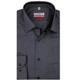 MarVelis MarVelis strijkvrij overhemd zwart motief en dubbel contrast Modern Fit, New Kent kraag