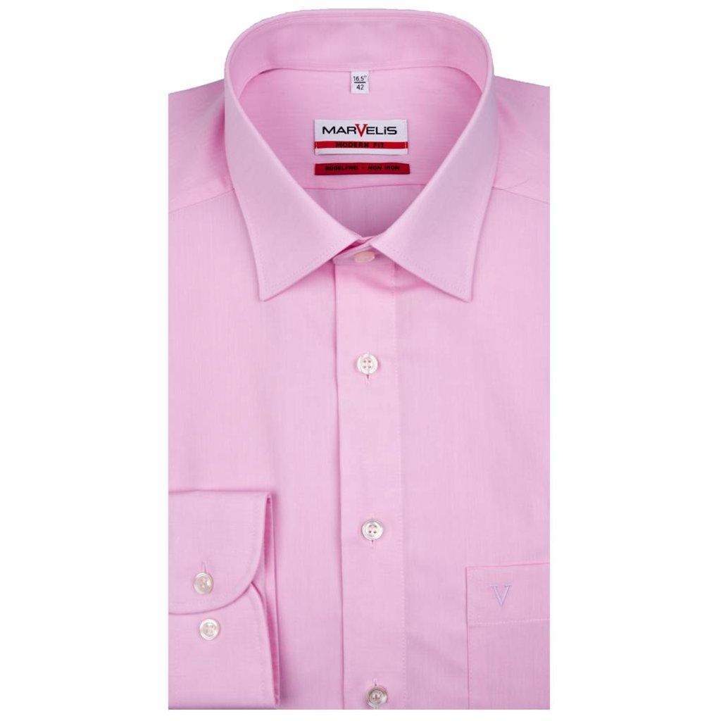 MarVelis MarVelis strijkvrij overhemd roze Modern Fit, New Kent kraag