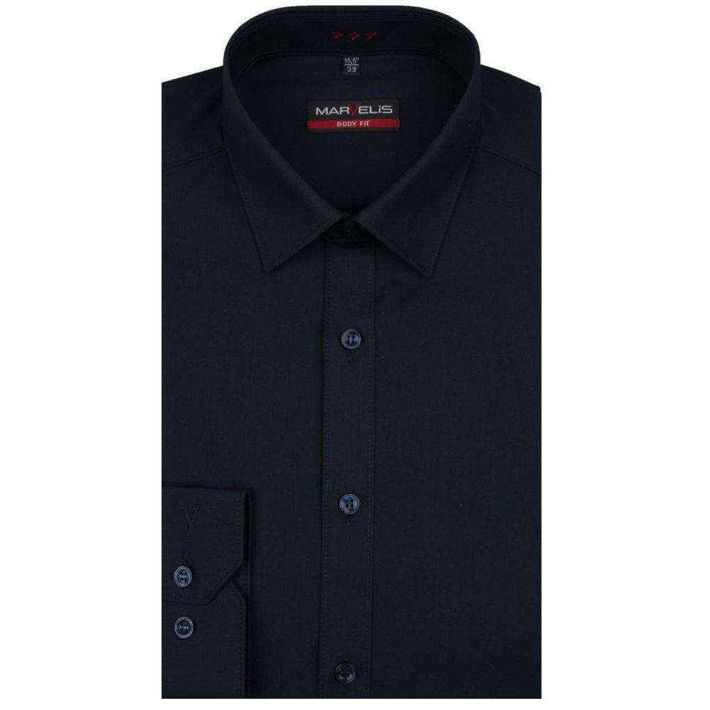 MarVelis MarVelis overhemd donkerblauw Body Fit, New York Kent kraag