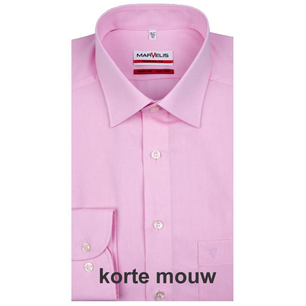 MarVelis MarVelis strijkvrij overhemd roze Modern Fit, korte mouw, New Kent kraag