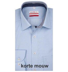 MarVelis MarVelis strijkvrij overhemd lichtblauw motief en dubbel contrast Modern Fit, korte mouw, New Kent kraag