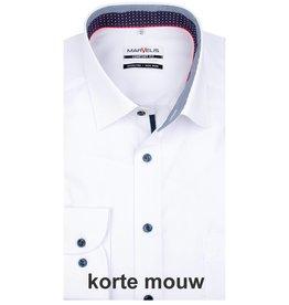 MarVelis MarVelis strijkvrij overhemd korte mouw wit met contrast Comfort Fit, New Kent kraag