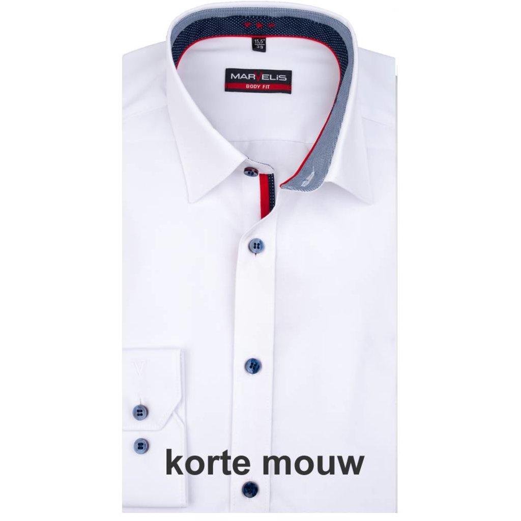 Overhemd Wit.Marvelis Overhemd Wit Dubbel Contrast Body Fit Q Fashion Q