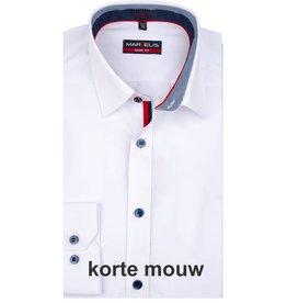 MarVelis MarVelis overhemd wit  dubbel contrast Body Fit, New York Kent kraag, korte mouw