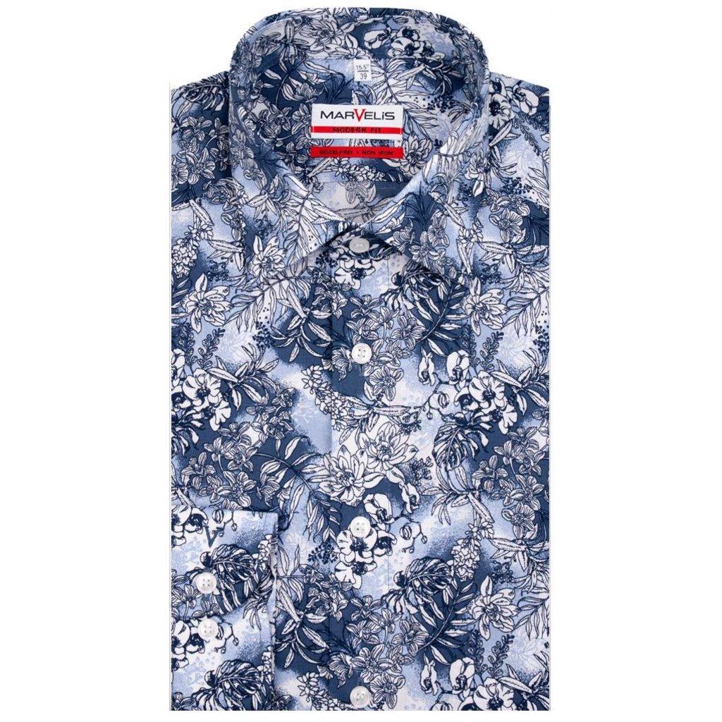 MarVelis MarVelis strijkvrij overhemd blue print Modern Fit, New Kent kraag