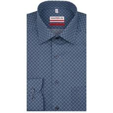 MarVelis MarVelis strijkvrij overhemd blauw/groen motief Modern Fit, New Kent kraag