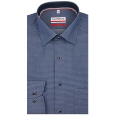 MarVelis MarVelis strijkvrij overhemd blauw met  dubbel contrast Modern Fit, New Kent kraag