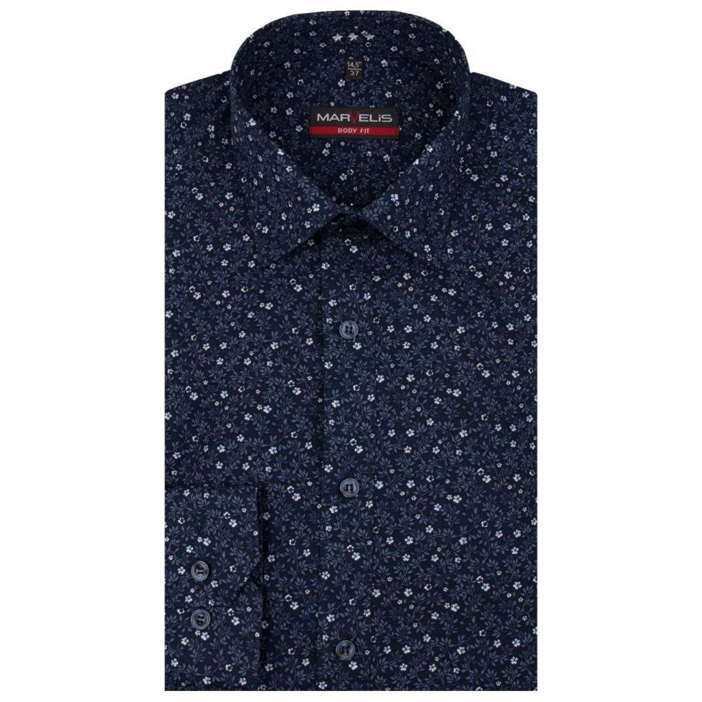 MarVelis MarVelis overhemd blue print Body Fit, New York Kent kraag