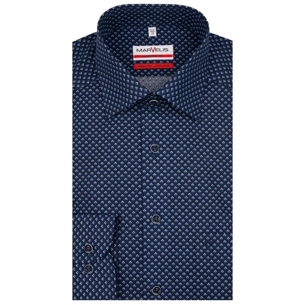 MarVelis MarVelis strijkvrij overhemd dark blue print Modern Fit, New Kent kraag