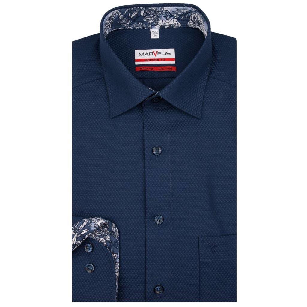 MarVelis MarVelis strijkvrij overhemd donkerblauw motief met  contrast Modern Fit, New Kent kraag