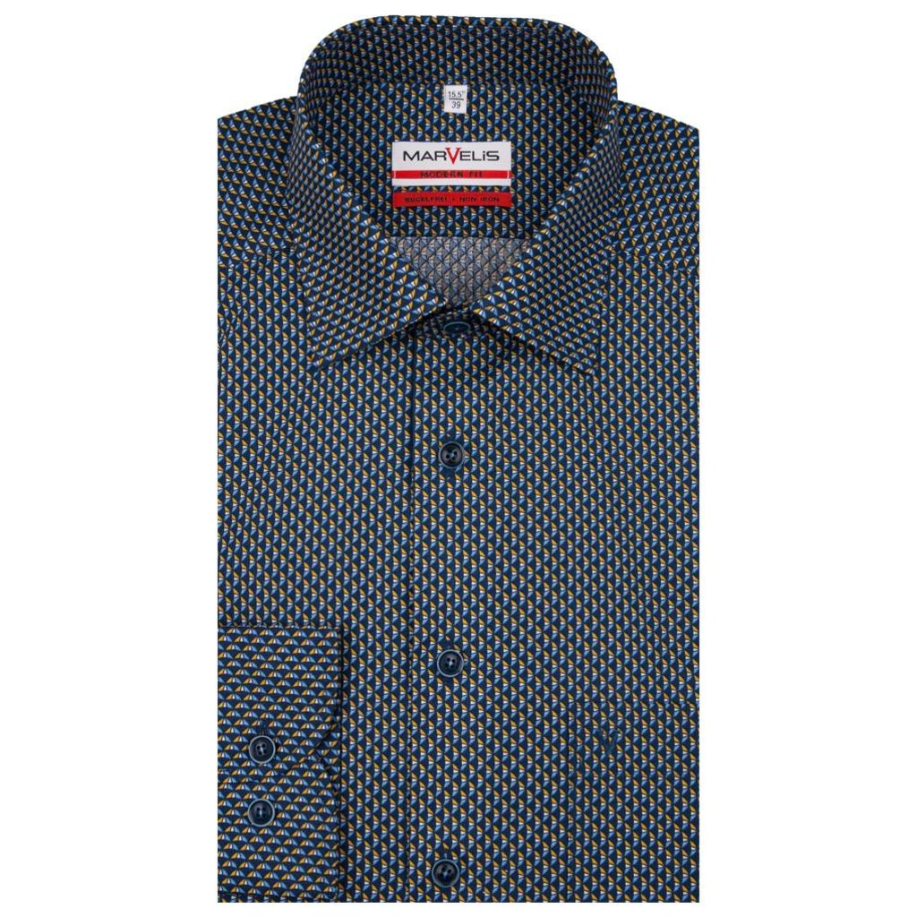 MarVelis MarVelis strijkvrij overhemd met verschillende tinten oker en blauw Modern Fit,  New Kent kraag