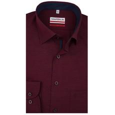 MarVelis MarVelis strijkvrij overhemd bordeaux rood met  motief Modern Fit, New Kent kraag