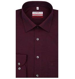 MarVelis MarVelis strijkvrij overhemd chambray bordeaux rood Modern Fit, New Kent kraag