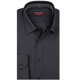 MarVelis MarVelis overhemd antraciet gestippeld Body Fit, New York Kent kraag