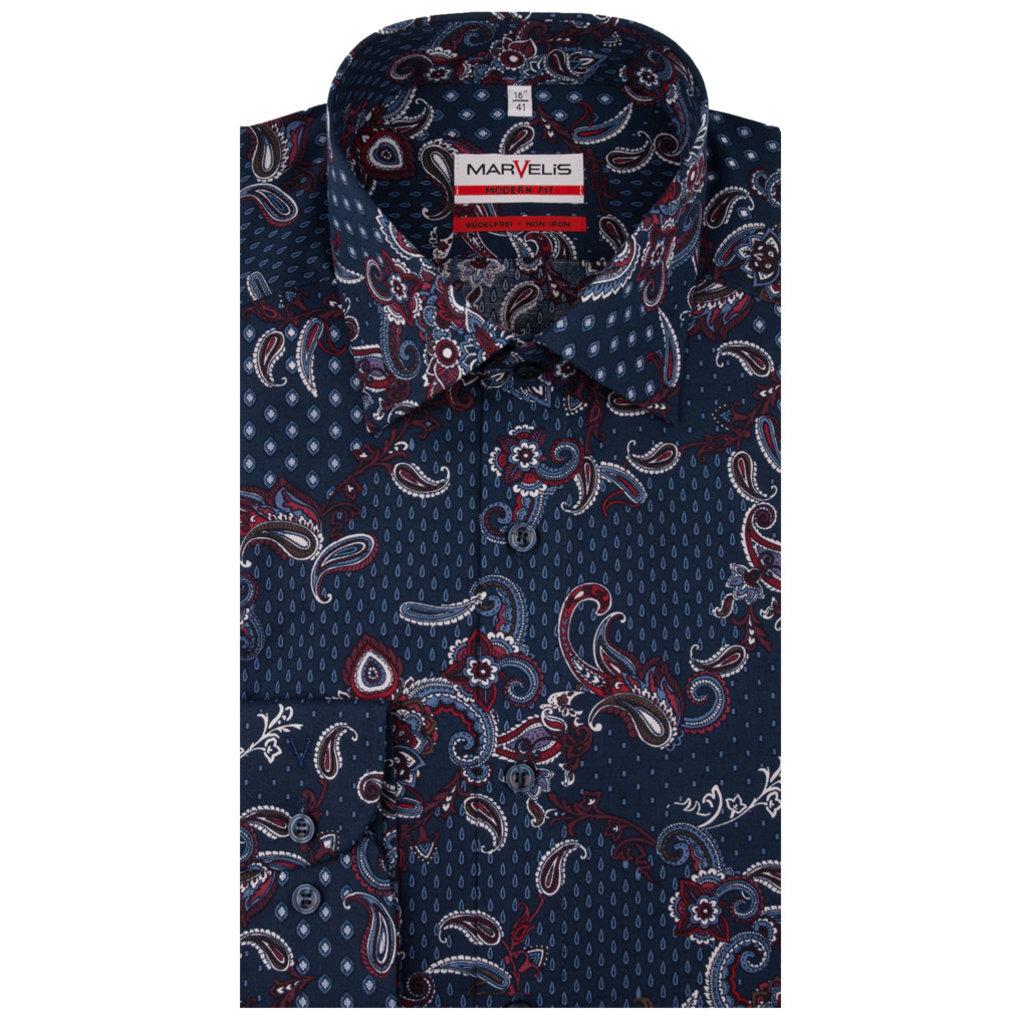 MarVelis MarVelis strijkvrij overhemd blue met print Modern Fit, New Kent kraag