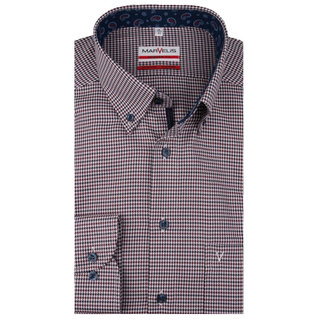MarVelis MarVelis strijkvrij overhemd  met motief en contrast Modern Fit, New Kent kraag