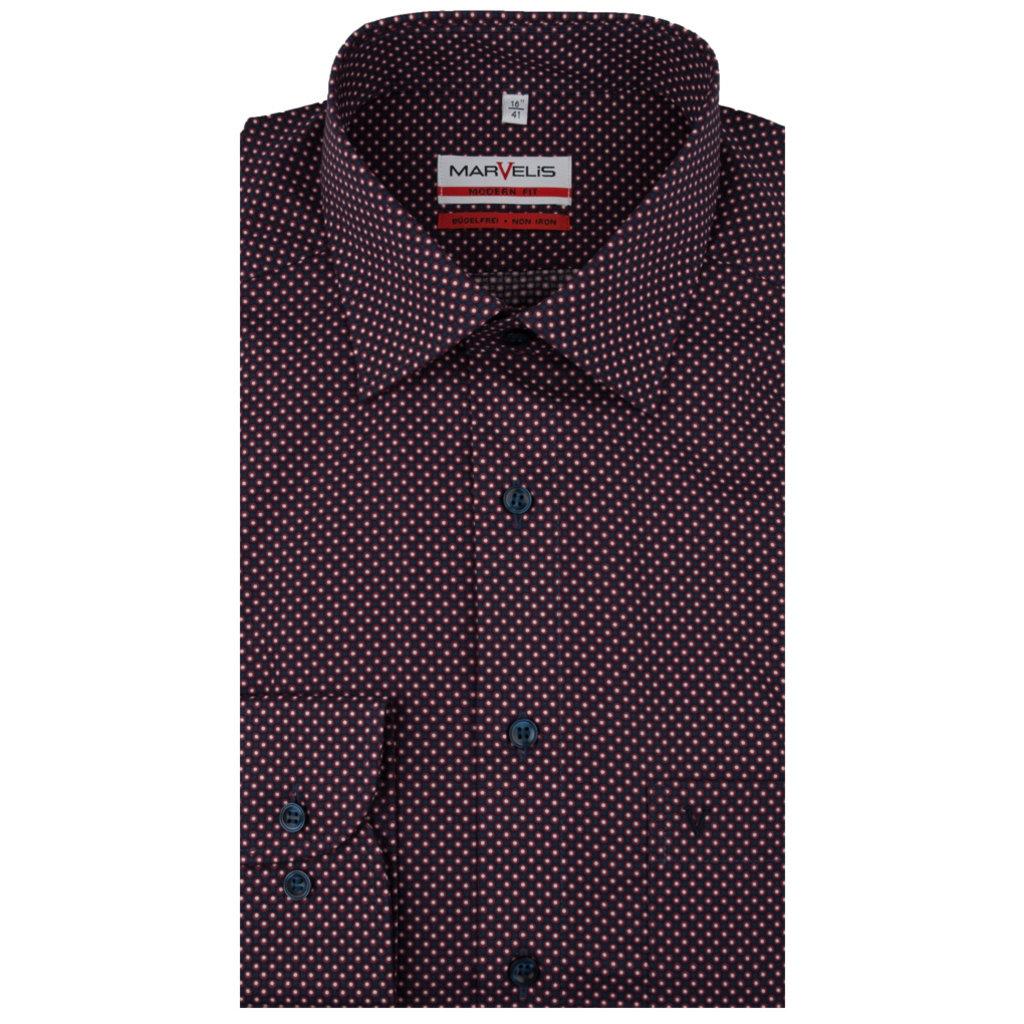 MarVelis MarVelis strijkvrij overhemd meerkleurig motief Modern Fit, New Kent kraag