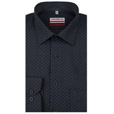 MarVelis MarVelis strijkvrij overhemd  antraciet met contrast Modern Fit, New Kent kraag