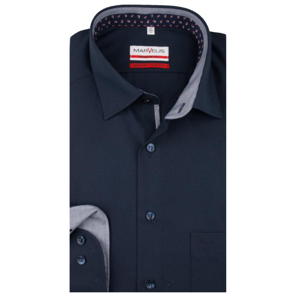 MarVelis MarVelis strijkvrij overhemd  dark blue met contrast Modern Fit, New Kent kraag