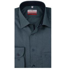 MarVelis MarVelis strijkvrij overhemd  groen motief met contrast Modern Fit, New Kent kraag
