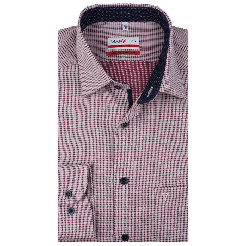 MarVelis MarVelis strijkvrij overhemd  bordeaux rood - wit motief met contrast Modern Fit, New Kent kraag