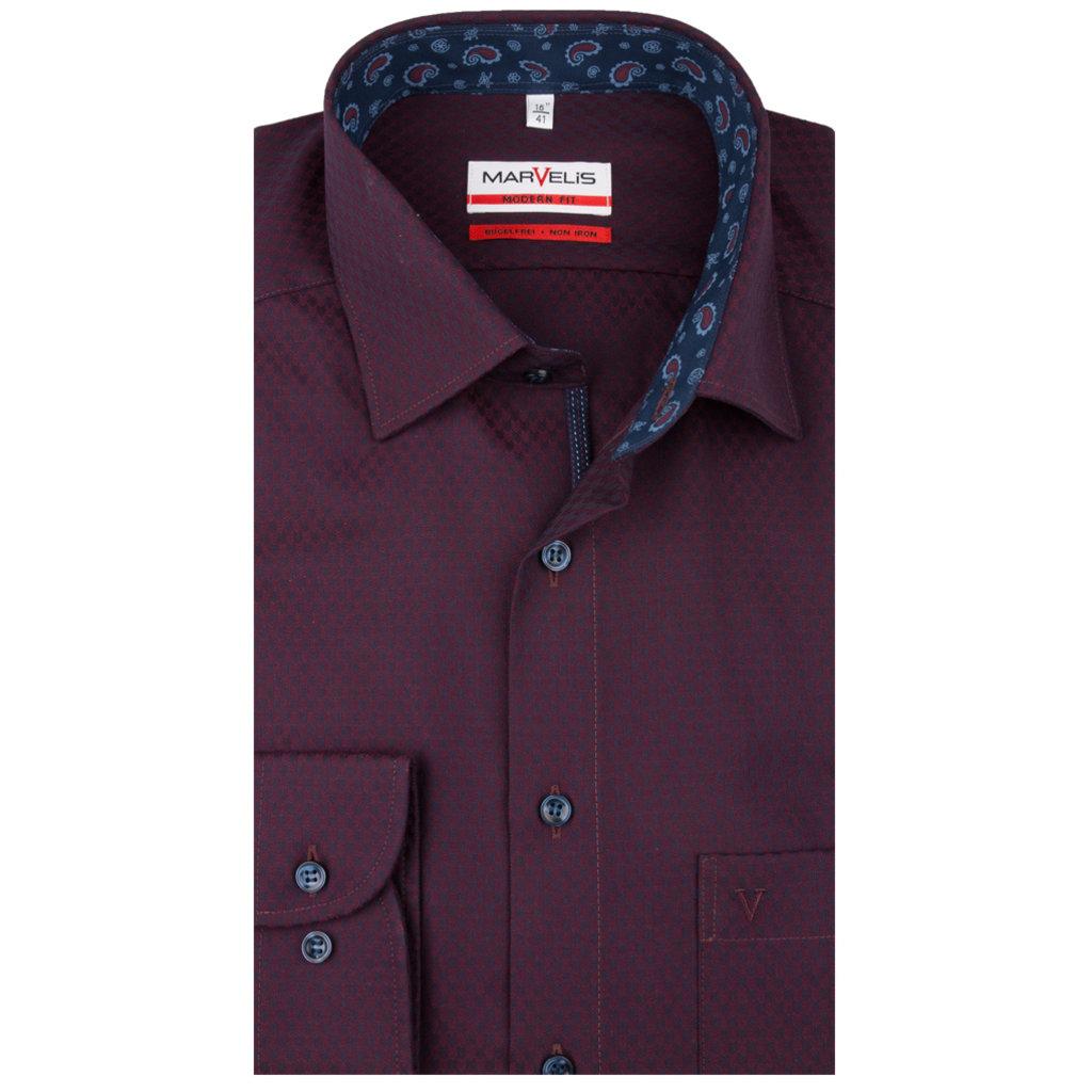 MarVelis MarVelis strijkvrij overhemd  bordeaux rood motief met contrast Modern Fit, New Kent kraag