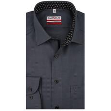 MarVelis MarVelis strijkvrij overhemd  zwart motief met contrast Modern Fit, New Kent kraag