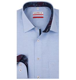 MarVelis MarVelis strijkvrij overhemd  blue motief en contrast Modern Fit, New Kent kraag
