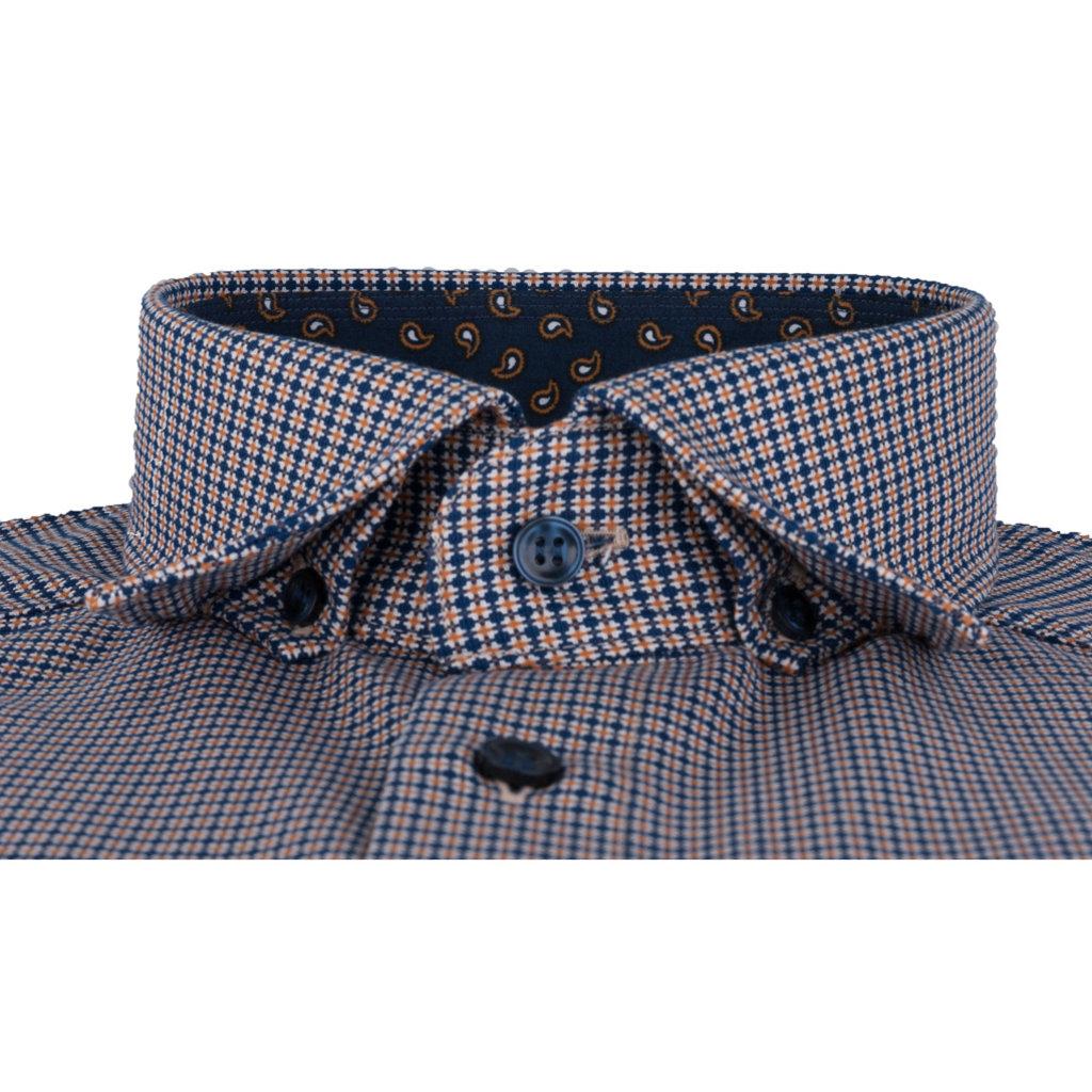 MarVelis MarVelis strijkvrij overhemd  oker-blauw motief en contrast Modern Fit, New Kent kraag