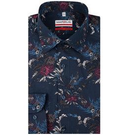 MarVelis MarVelis strijkvrij overhemd dark blue met print Modern Fit, New Kent kraag