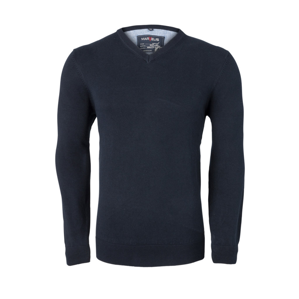 MarVelis MarVelis Modern Fit Pullover diep donkerblauw