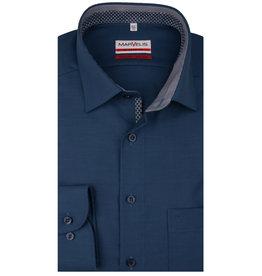 MarVelis MarVelis strijkvrij overhemd  donkerblauw met motief en contrast Modern Fit, New Kent kraag