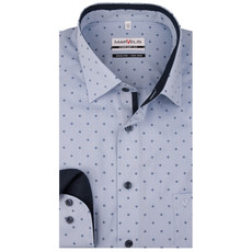MarVelis MarVelis strijkvrij overhemd  blauw motief met contrast Comfort Fit, New Kent kraag