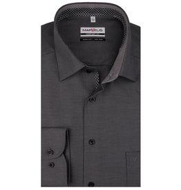 MarVelis MarVelis strijkvrij overhemd  zwart/antraciet motief met contrast Comfort Fit, New Kent kraag