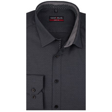 MarVelis MarVelis overhemd antraciet motief Body Fit, New York Kent kraag