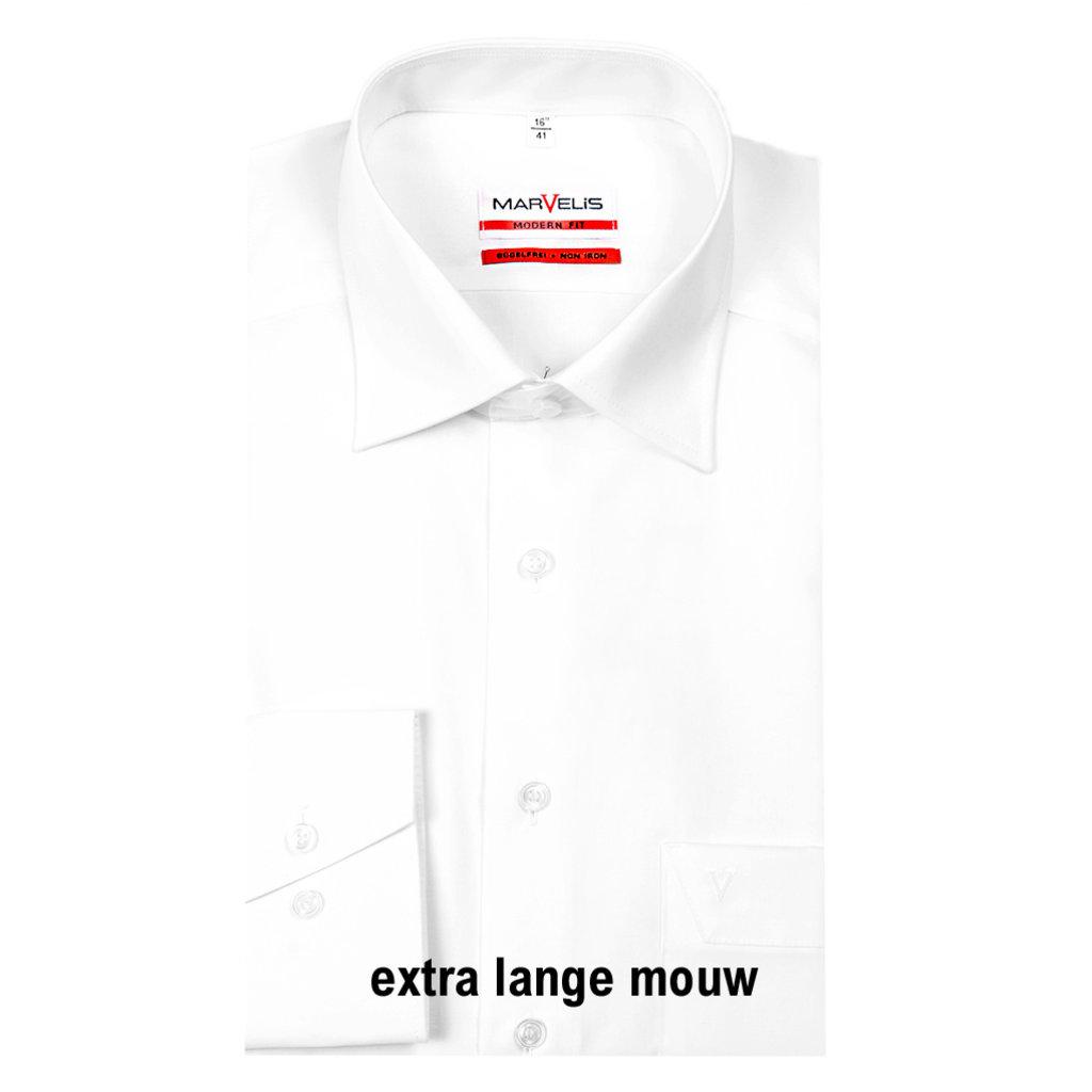 MarVelis MarVelis strijkvrij overhemd Modern Fit wit extra lange mouw, New Kent