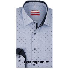 MarVelis MarVelis strijkvrij overhemd  extra lange mouw blauw motief met contrast Modern Fit, New Kent kraag