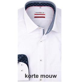 MarVelis MarVelis strijkvrij overhemd  korte mouw wit met contrast Modern Fit, New Kent kraag