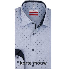 MarVelis MarVelis strijkvrij overhemd  korte mouw blauw motief met contrast Modern Fit, New Kent kraag