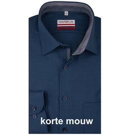 MarVelis MarVelis strijkvrij overhemd  korte mouw donkerblauw met motief en contrast Modern Fit, New Kent kraag