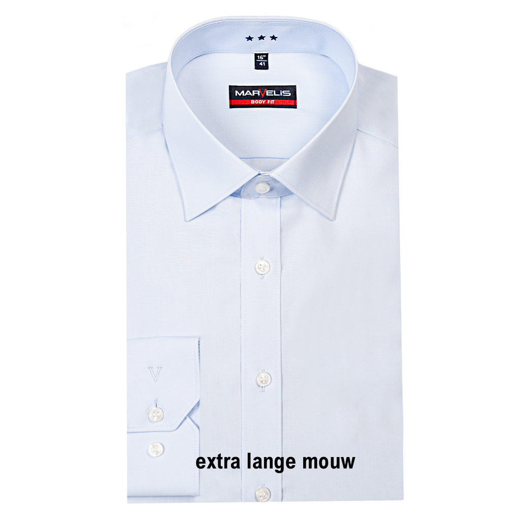 MarVelis MarVelis overhemd extra lange mouw Body Fit blue, New York Kent