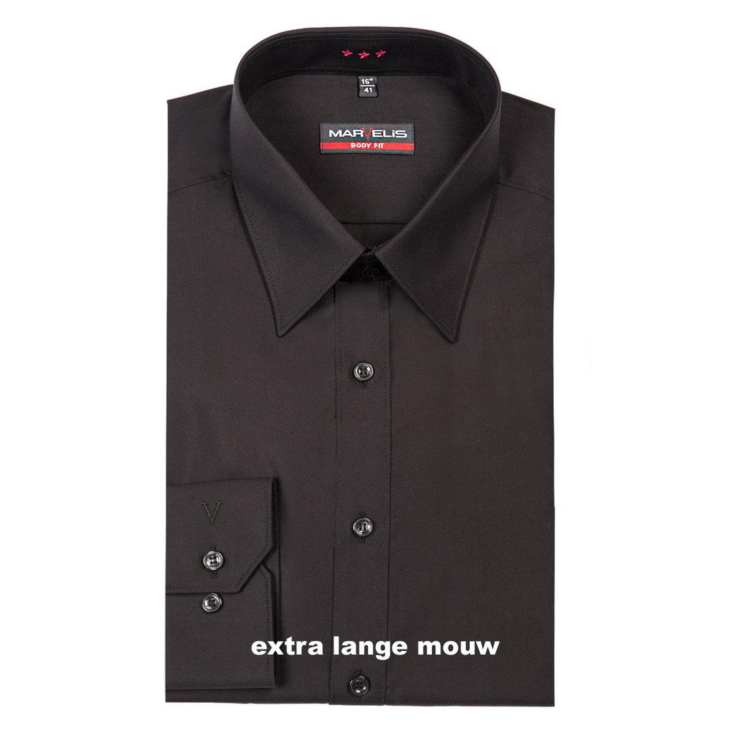 MarVelis MarVelis overhemd zwart met extra lange mouw Body Fit, New York Kent kraag