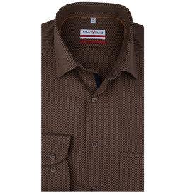 MarVelis MarVelis strijkvrij overhemd  goudbruin gemêleerd Modern Fit, New Kent kraag